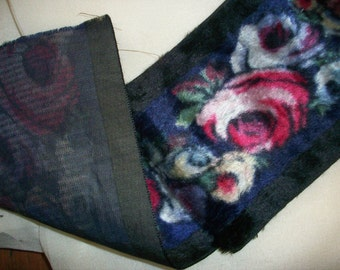roses on  lovely silk velvet antique ribbon length