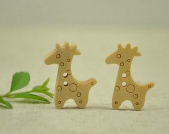 30 Pieces Giraffe Wood Buttons - 25mm x 15mm - 2 Hole Natural Wood Buttons
