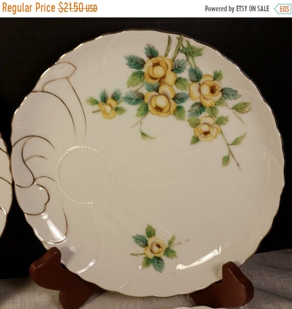 Delayed Shipping UCAGCO China Snack Plates Set of 4 Vintage Matching Yellow Rose Gilded Snack Plates Japan Porcelain Hand Painted Mid Centur