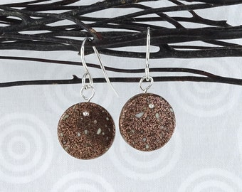Copper firebrick stone from copper country in Michigan made into earrings with sterling silver