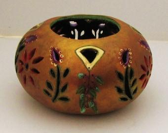 Hand Carved Flower Garden Gourd Bowl