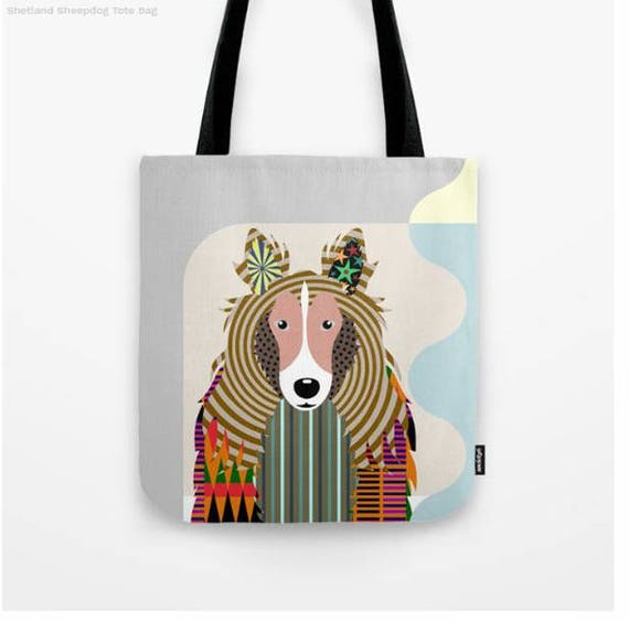 Shetland sheepdog Tote Bag, Sheltie Gifts, Shetland sheepdog Art Print, Dog Tote Bag, Dog Lover's Gift