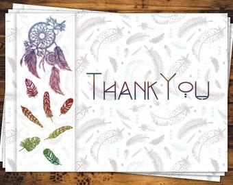 Boho Feathers Thank You Card