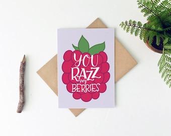 Foodie Valentine's Day Card - Cute Birthday Card - Razz My Berries - Gay Valentine's Day Card - Lesbian Valentine Card