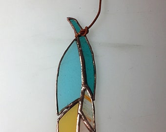 Stained glass feather sun catcher