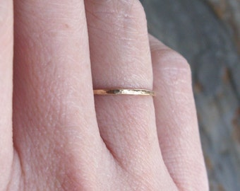 Tiny Solid 14k Gold Thread Micro Stacking Halo Ring in Choice of Finish - Hammered, Brushed Matte, or Smooth - 1mm Gold Band