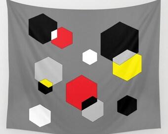 Digital Art Wall Tapestry, Large Wall Art, Modern, Dorm, Office, Geometrical, Modern Decor, Pop Decor, Red Black Yellow Grey Hexagon Art