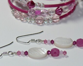 Charming Mother of Pearl Oval Bead with Honeysuckle Pink Beaded Dangle Sterling Silver Handmade Earrings