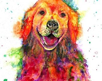 golden retriever: dog lover gift dog print dog mom golden retriever art retriever portrait nursery decor retriever decor dog memorial gift