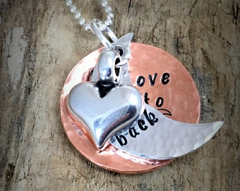Hand Stamped Love You To The Moon & Back, Copper Metal Pendant Necklace, Love You to the Moon Necklace