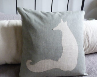 hand printed eau de nil sitting fox cushion cover