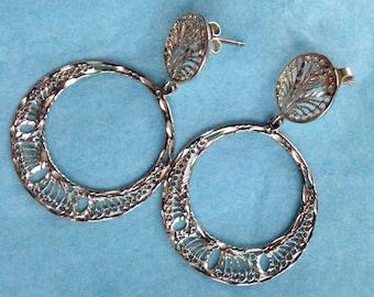 Vintage sterling circle dangle earrings