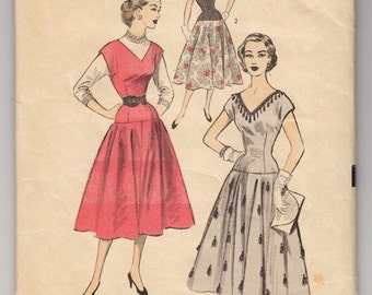 1950s Advance 6338 Drop Waist Dress Or Jumper With Wide V Neckline Front And Back - Size 15 Bust 33 - Vintage Sewing Pattern