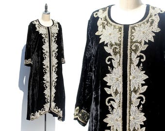 Vintage Black Velvet Heavy Floral Embroidery beads & Sequins Dress