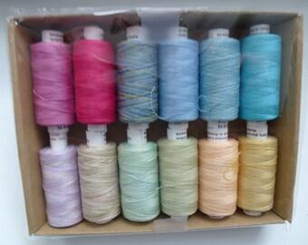 """Valdani 100% Cotton Thread 60wt, 274y each 12 spools - """"Spring"""" Collection"""