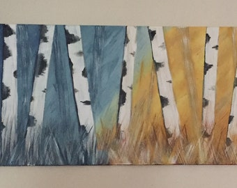 Abstract Birch Tree acrylic painting on canvas