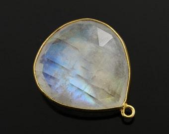 Natural Rainbow Moonstone Faceted Bezel Heart Shape,  Gold Vermeil,  , Incredible Blue Fire 19mm,1 Piece, (RNM/19/HRT)