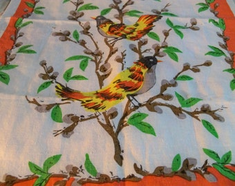 sweet bird linen  vintage towel