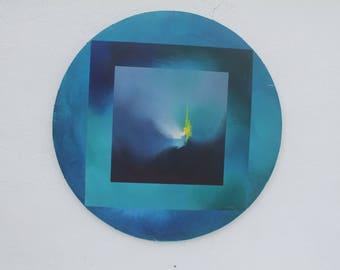 1970's Circular Geometric  Painting By R. Nemosik.
