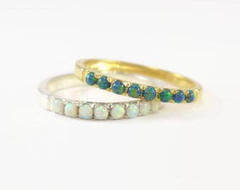 white gold opal ring, promise opal ring, fire opal gold ring, green opal ring, promise rings set, green opal ring, gold opal rings