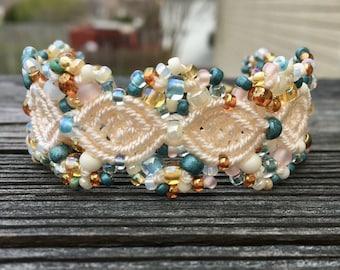 Micro-Macrame Cuff Bracelet. Modern Macrame. Beaded Cuff. Cream Cuff Bracelet. Macrame Cuff. Statement Jewelry. Boutique Fashion Piece.