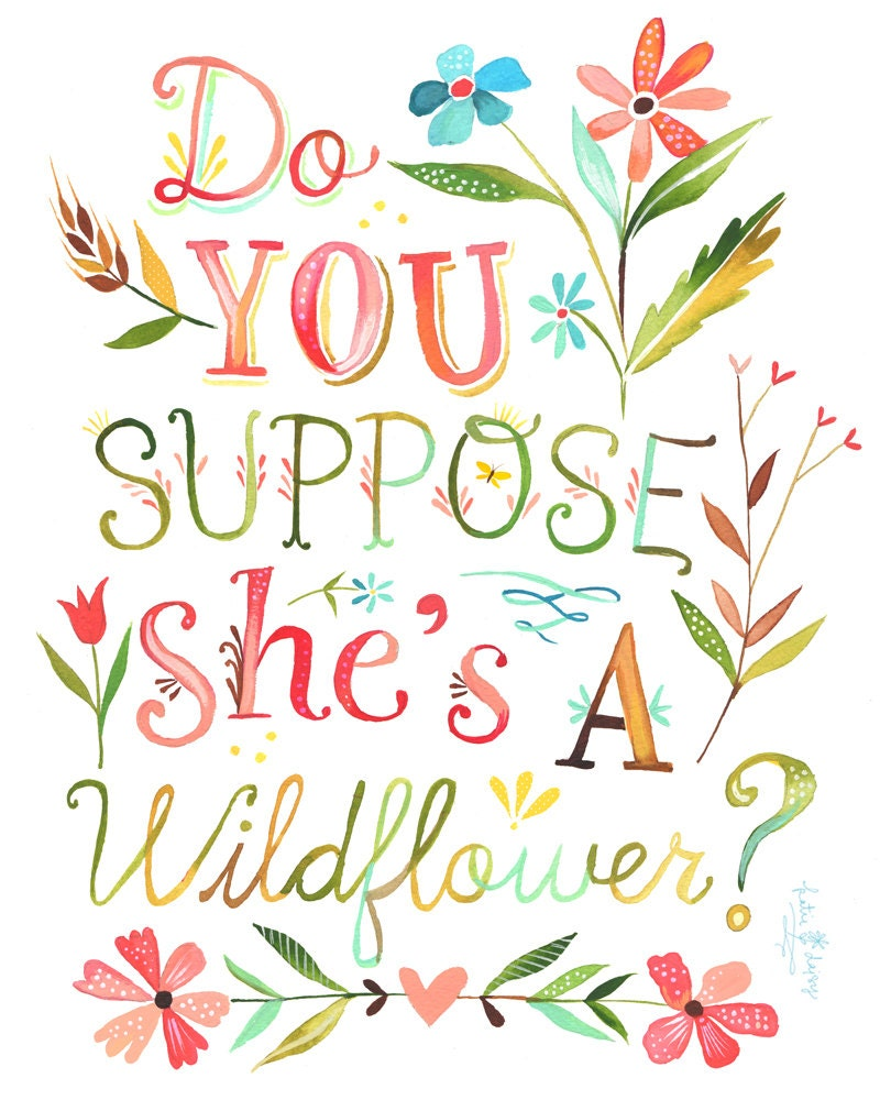 She's a Wildflower Print | Vertical Print | Alice in Wonderland | Katie Daisy Art | Watercolor Quote | Wall art | 8x10 | 11x14