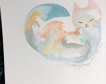 Purrfect Sleep original watercolor painting by Bunny Dee
