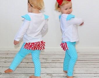 Girls leggings pattern, girls sewing pattern pdf, childrens sewing pattern pdf, girls pants pattern, leggings pattern, RUFFLE LEGGINGS