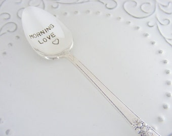 Morning Love Spoon Hand Stamped Coffee Spoon