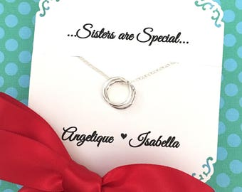 SISTER GIFT Sister Necklace Gift for Sisters Sterling Silver Inseparable Rings Connected Infinity Circles Gift Wrapped Ready to Ship