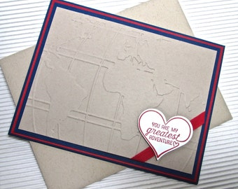 You are my greatest adventure Valentine anniversary card handmade stamped dry-embossed ribbon-embellished navy red stationery greeting home