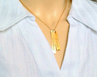 Double Name Bar Necklace Gold Vertical Bar Necklace custom name 2 Two Bars Necklace - 2 Names Necklace - Custom Engraved - Mothers necklace