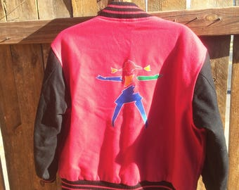 Vintage 90s Bright Pink American Girl Gear Wool Letterman Jacket