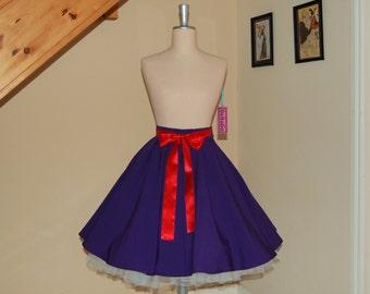 full circle skirt ,Swing skirt , Holiday Rockabilly skirt,purple skirt