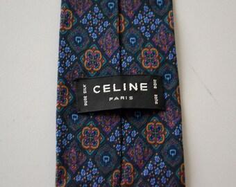 Vintage french tie CELINE Paris / flower cashmere pattern / pure silk