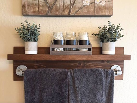 Rustic Industrial Bath Towel Rack, Bathroom Shelf, Rustic Home Decor, Industrial Shelf, Rustic Wooden Shelf, Industrial Decor, Towel Rack