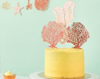 Seahorse Wedding Cake Topper - Wedding Cake Topper - Under the Sea Cake Topper - Anniversary Cake Topper - Coral Wedding Anniversary