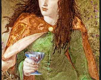 Queen Eleanor, Pre-Raphaelites stained glass, kilnfired glass painting, handpainted, vitrail, Pre-Raphaelites, Queen, poison, stained glass