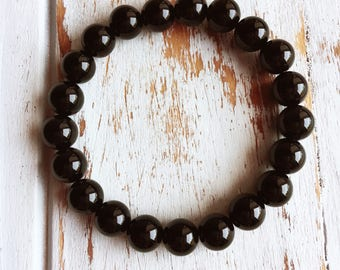 Genuine Black Onyx Bracelet, 4mm Black Onyx Bracelet, 6mm Black Onyx Bracelet, 8mm Black Onyx Bracelet, Grounding Bracelet, Protection