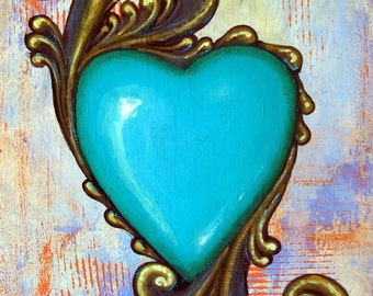 Original painting Valentine of boho blue heart with gold leafs love gift painted on wood panel sweetheart gift wedding present