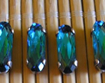Oval cabochon Crystal indicolite blue Swarovski 15 x 5 mm 2 holes