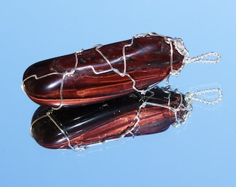 Red Tigers Eye Pendant Wire Wrapped in Copper