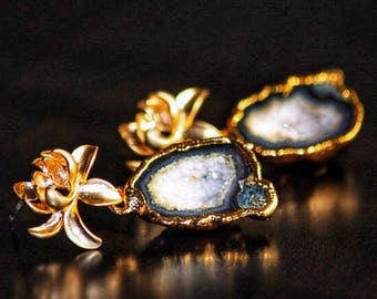 Small Geode Drusy + gold lotus flower sterling post dangle earrings - OOAK - Druzy Druzzy Agate Natural Stone Black and White electroplated