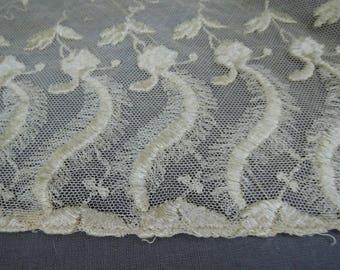 Vintage Antique Lace Lot Embroidered Cotton Tulle Remnants, Edwardian 1900s Vintage Dress Scraps