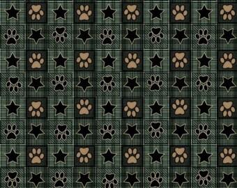 It's a Ruff Life Puppy Dog Paws & Stars Squares Quilting Treasures premium 100% Cotton Fabric  (QT62)