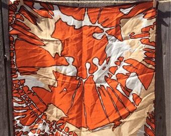 1960s Orange Vintage Silk Scarf by Paoli - retro silk scarf, 60s scarf, square scarf, Italian silk, womans accesories, abstract design