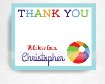 Beach Ball Digital Thank You Card YOU PRINT