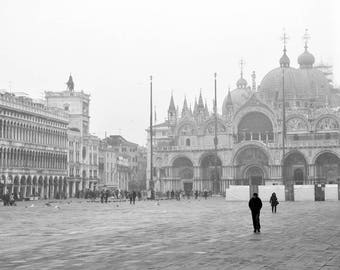 St Marks Square, Venice Photography, Black and White Print, Travel Decor, Italy Photography, Europe Wall Art, Piazza San Marco, Basilica