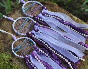 Mini Dreamcatcher, Bohemian Dreamcatcher, Purple Dreamcatcher, Unique Girl Party Favors, Wedding Favors, Boho Decor,Wall hanging,Gypsy Decor