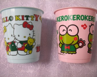 Vintage Sanrio Hello Kitty and Kerokerokeroppi Collectible Plastic Cups
